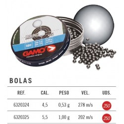 Balines Gamo Bolas Round 5,5 mm 250 ud