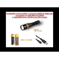 Linterna buceo Fenix SD20 1000 Lumens Pack Recargable